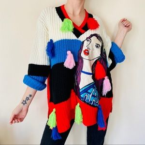 NWT one size knitted colorblock cartoon sweater